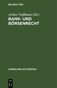 Cover Bank- und Börsenrecht