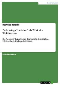 """Cover Zu Lessings """"Laokoon"""" als Werk der Weltliteratur"""