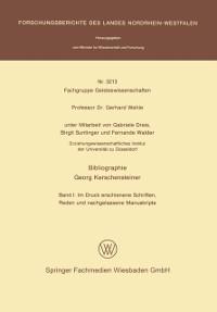 Cover Bibliographie Georg Kerschensteiner
