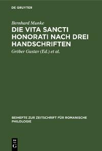 Cover Die Vita Sancti Honorati nach drei Handschriften