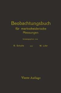 Cover Beobachtungsbuch fur markscheiderische Messungen