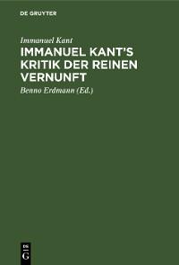 Cover Immanuel Kant's Kritik der reinen Vernunft