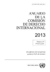 Cover Anuario de la Comisión de Derecho Internacional 2013, Vol. II Parte 1