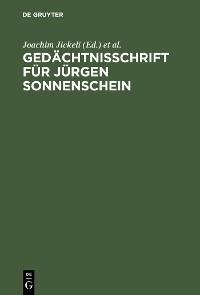 Cover Gedächtnisschrift für Jürgen Sonnenschein