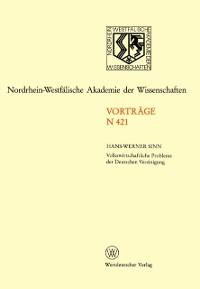 Cover Volkswirtschaftliche Probleme der Deutschen Vereinigung