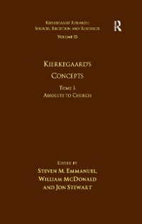 Cover Volume 15, Tome I: Kierkegaard's Concepts