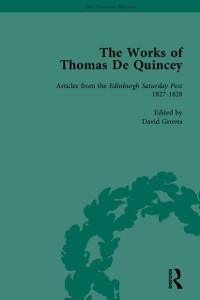 Cover Works of Thomas De Quincey, Part I Vol 5