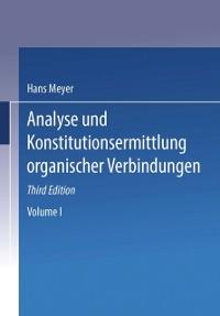 Cover Analyse und Konstitutions Ermittlung Organischer Verbindungen