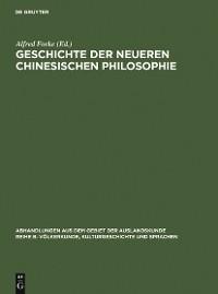 Cover Geschichte der neueren chinesischen Philosophie
