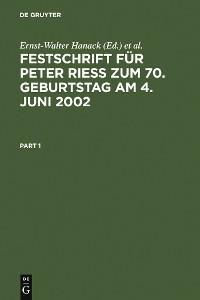 Cover Festschrift für Peter Rieß zum 70. Geburtstag am 4. Juni 2002