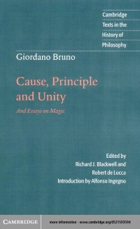 Cover Giordano Bruno: Cause, Principle and Unity