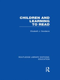 Cover Children and Learning to Read (RLE Edu I)