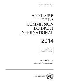 Cover Annuaire de la Commission du Droit International 2014, Vol. II, Partie 1