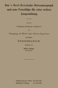 Cover Der v. Orel-Zeissische Stereoautograph und neue Vorschlage fur seine weitere Ausgestaltung