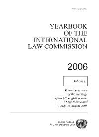 Cover Yearbook of the International Law Commission 2006, Vol. I