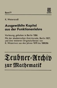 Cover Ausgewahlte Kapitel aus der Funktionenlehre